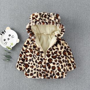 Leopard Girl's Hooded Fleece Coat For 0-3 Ye-US$26.99