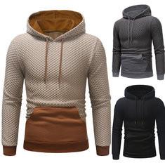 Stitching Color Sport Drawstring Hooded Sweatshirt-US$32.32