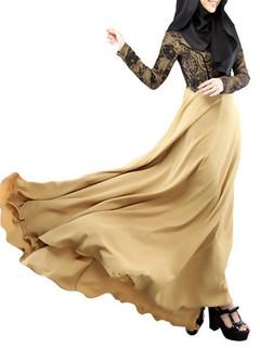 Lace Stitching Fake Two-piece Loose Maxi Dress -US$39.99