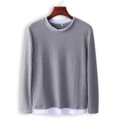 Breathable Long Sleeve Tops Solid Color T Shirt -US$18.40