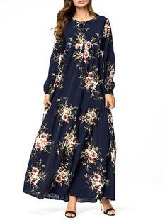 Rose Print Keyhole Neck Long Sleeve Dress -US$36.80