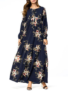 Rose Print Keyhole Neck Long Sleeve Dress -US$36.80
