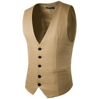 Slim Fit Fashion Pure Color Suit Vest-US$20.74