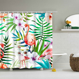 Flamingo Waterproof Polyester Bath Curtain -US$15.69