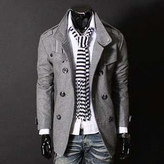 RM138.82 - Mens Double Breasted Stand Collar Trench Coat