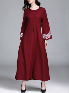Solid Color Floral Bell Sleeve O-neck Maxi Dress -US$35.00