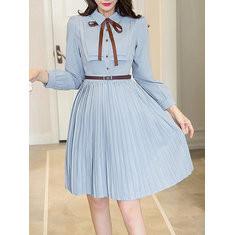 Pleated Long Sleeve Knee-length Chiffon Dress-RM133.20