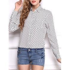 Polka Dots Long Sleeve Turn Down Collar Blouse-RM85.90