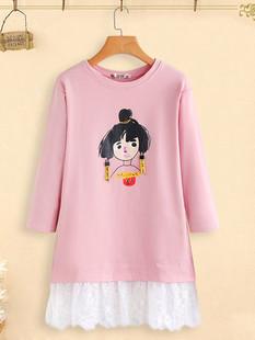 Lace Patchwork Cartoon Print Dress -US$32.99