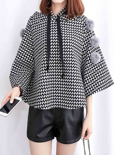 Women's Poncho Hooded Plaid Fluffy Balls Coat -RM115.53