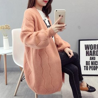 Solid Color Long Sleeve Sweater Cardigan -RM132-14