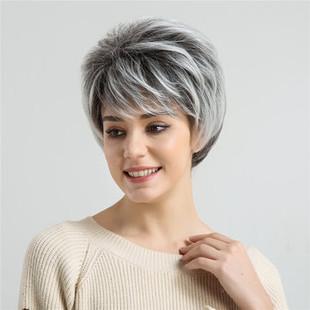 Black White Short Hair -US$24.74