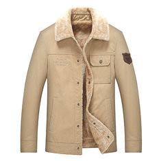 Casual Lapel Collar Fleece Warm Jacket-US$47.18