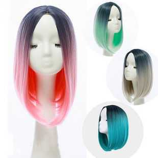 36cm Gradient Hair Straight Bob Wigs Heat Re -US$28.57