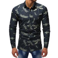 Casual Dragonfly Print Long Sleeve Shirt-US$23.84