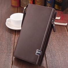 Men PU Leather Long Clutch Bag Solid 7 Card Slot Wallet -US$12.88