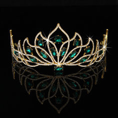Bride Gold Green Rhinestone Crystal Tiara Crown Princess Queen Wedding Bridal Party Headpiece-RM64.27