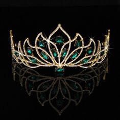 Bride Gold Green Rhinestone Crystal Tiara Crown Princess Queen Wedding Bridal Party Headpiece-RM64.27