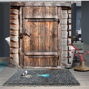 Wood Door Farmhouse Shower Curtain -US$21.90