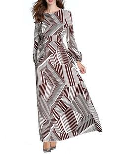 Printed Long Sleeved O-neck Slim Long Dress -US$42.99