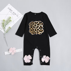 Leopard Print Baby Romper For 0-24M