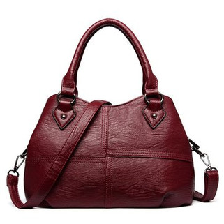 Genuine Leather Plaid Solid Handbag Shoulde -US$38.98