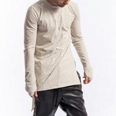 Brief Solid Color Side Slit T Shirt-US$17.37
