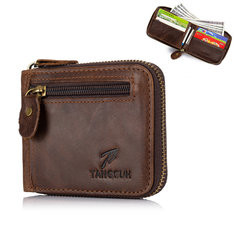 Men Genuine Leather 8 Card Slot Wallet Vintage Coin Purse