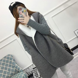 Lamb Solid Color Thickening Hooded Coat -RM153.63