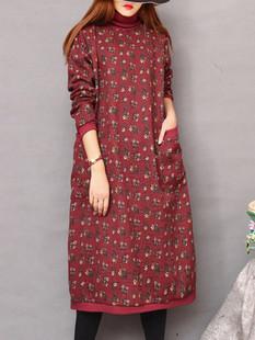 Floral Print Turtleneck Dress -US$66.99