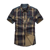 Mens Clothing Stitching Checked Pockets Washed Short Sleeves Summer Shirt for Men - RM80.07