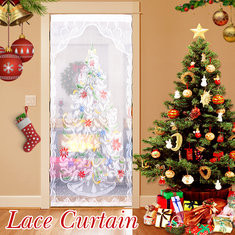 """40""""x84"""" Christmas Tree White Lace Window Curtain""-RM12.7"