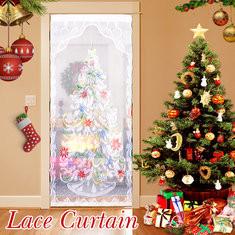 """40""""x84"""" Christmas Tree White Lace Window Curtain""-RM12.7"