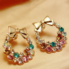 Sweet Ear Stud Earrings Bowknot Colorful-RM29.99