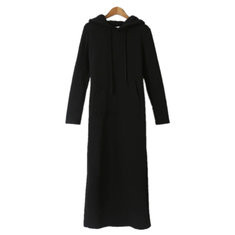Solid Color Long Sleeve Hooded Sweatshirt Dress-RM68.75