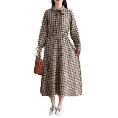 Plaid Elastic Waist Long Sleeve Vintage Dress-RM110.43