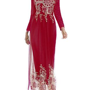 Lace Silk Gauze Stitching Long Sleeve Long D-US$42.84