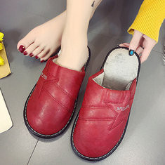 Round Toe Warm Backless Indoor Shoes-RM97.23