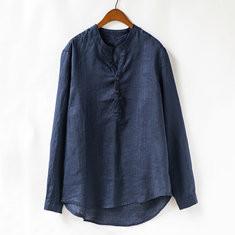 Men Linen Retro Pullover Shirt -US$25.16