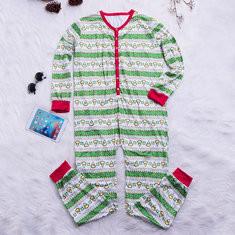 Christmas Fleece Warmer Printed Jumpsuit Pajamas-US$21.59