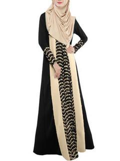 Splicing Long Sleeved Muslim Dress -US$29.99