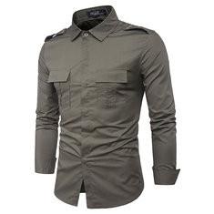 Mens Long Sleeve Double Pockets Shirt-US$22.49