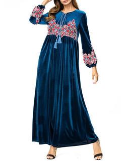 Velvet Flower Print Muslim Long Dress -US$49.99