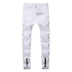 Stylish Hip Hop Ripped Zipper Fold Jeans-US$20.86