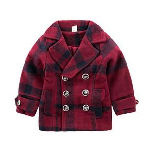 Cute Lattice Girls Winter Coat For 2-9Y -US$31.99