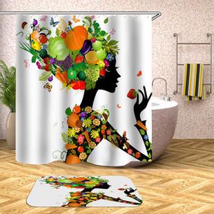 Waterproof Fruit Girl Shower Curtain Floormat -US$8.89