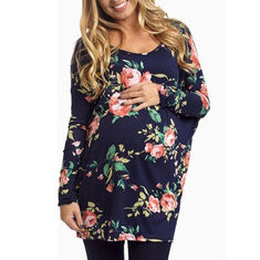 Floral Maternity Crew Neck Tops-US$22.59