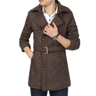 RM352.58-Mid-long Casual Wool Trench Coat