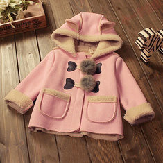 Kids Winter Hooded Trench Coat For 6-36 Months