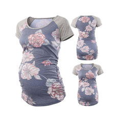 Flower Print Maternity Cotton Tops-US$18.99